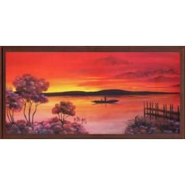Keretezett kép, keret, fa, kész, afrika, naplemente, csónak, folyó