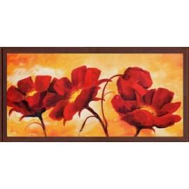 Keretezett kép, keret, fa, kész, csendélet, virág, pipacs, piros