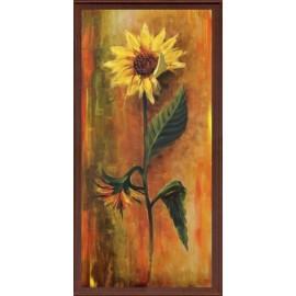 Keretezett kép, keret, fa, kész, virág, napraforgó