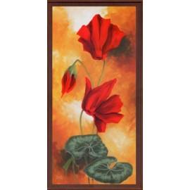 Keretezett kép, keret, fa, kész, virág, piros