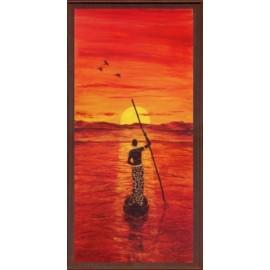 Keretezett kép, keret, fa, kész, afrika, naplemente, csónak