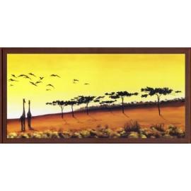 Keretezett kép, keret, fa, kész, afrika, zsiráf, állat