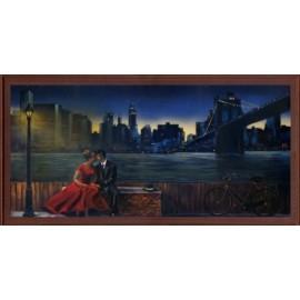 Keretezett kép, keret, fa, kész, amerika, usa, brooklyn híd, este, szerelmes pár
