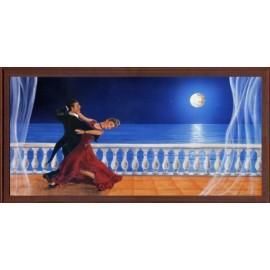 Keretezett kép, keret, fa, kész, táncos pár, terasz, tánc, este, hold, víz