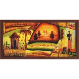 Keretezett kép, keret, fa, kész, csendélet, afrika, kunyhó, mező
