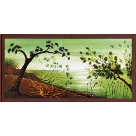 Keretezett kép, keret, fa, kész, csendélet, fa, fák, víz, tenger