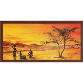 Keretezett kép, keret, fa, kész, afrika, család, naplemente