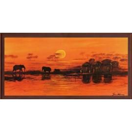 Keretezett kép, keret, fa, kész, afrika, elefánt, naplemente