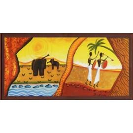 Keretezett kép, keret, fa, kész, afrika, csendélet, elefánt, férfiak