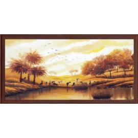 Keretezett kép, keret, fa, kész, afrika, állatok, folyó, víz